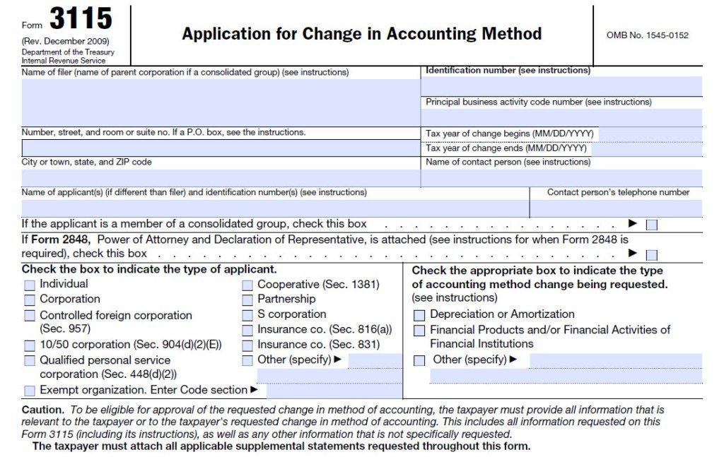 Accounting Form. Form-3115-Change-In-Accounting-Method-Form Tax